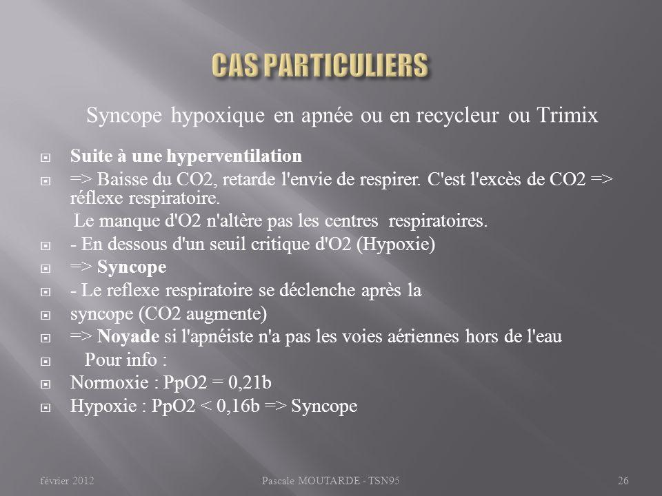 Syncope hypoxique en apnée ou en recycleur ou Trimix Suite à une hyperventilation => Baisse du CO2, retarde l'envie de respirer. C'est l'excès de CO2