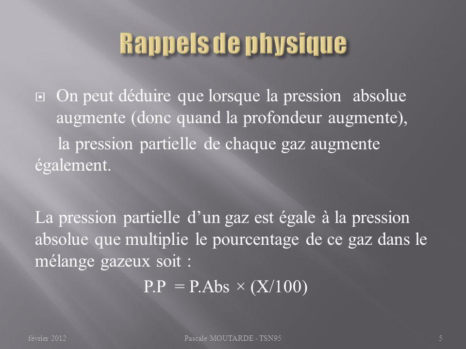 On peut déduire que lorsque la pression absolue augmente (donc quand la profondeur augmente), la pression partielle de chaque gaz augmente également.