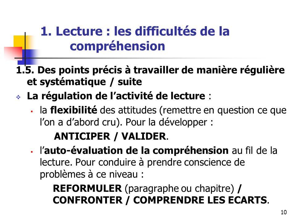 10 1. Lecture : les difficultés de la compréhension 1.5. Des points précis à travailler de manière régulière et systématique / suite La régulation de