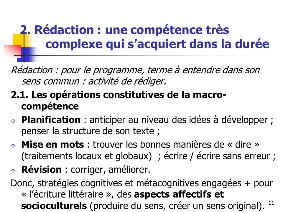 11 2. Rédaction : une compétence très complexe qui sacquiert dans la durée Rédaction : pour le programme, terme à entendre dans son sens commun : acti
