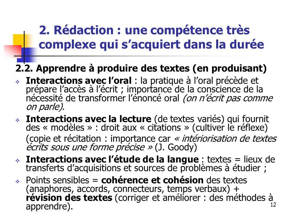 12 2. Rédaction : une compétence très complexe qui sacquiert dans la durée 2.2. Apprendre à produire des textes (en produisant) Interactions avec lora