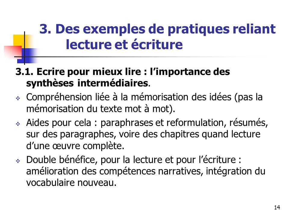 14 3. Des exemples de pratiques reliant lecture et écriture 3.1. Ecrire pour mieux lire : limportance des synthèses intermédiaires. Compréhension liée