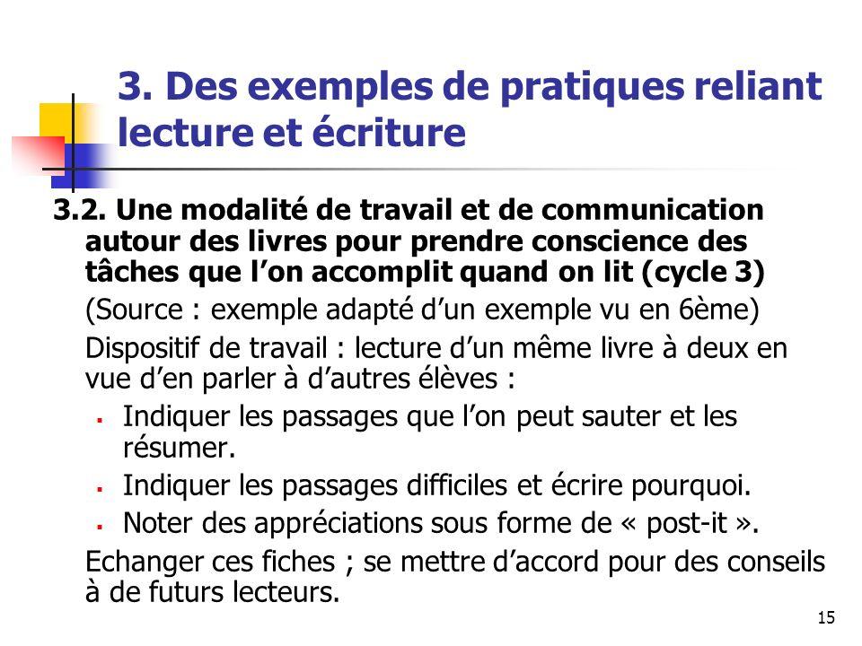 15 3. Des exemples de pratiques reliant lecture et écriture 3.2. Une modalité de travail et de communication autour des livres pour prendre conscience
