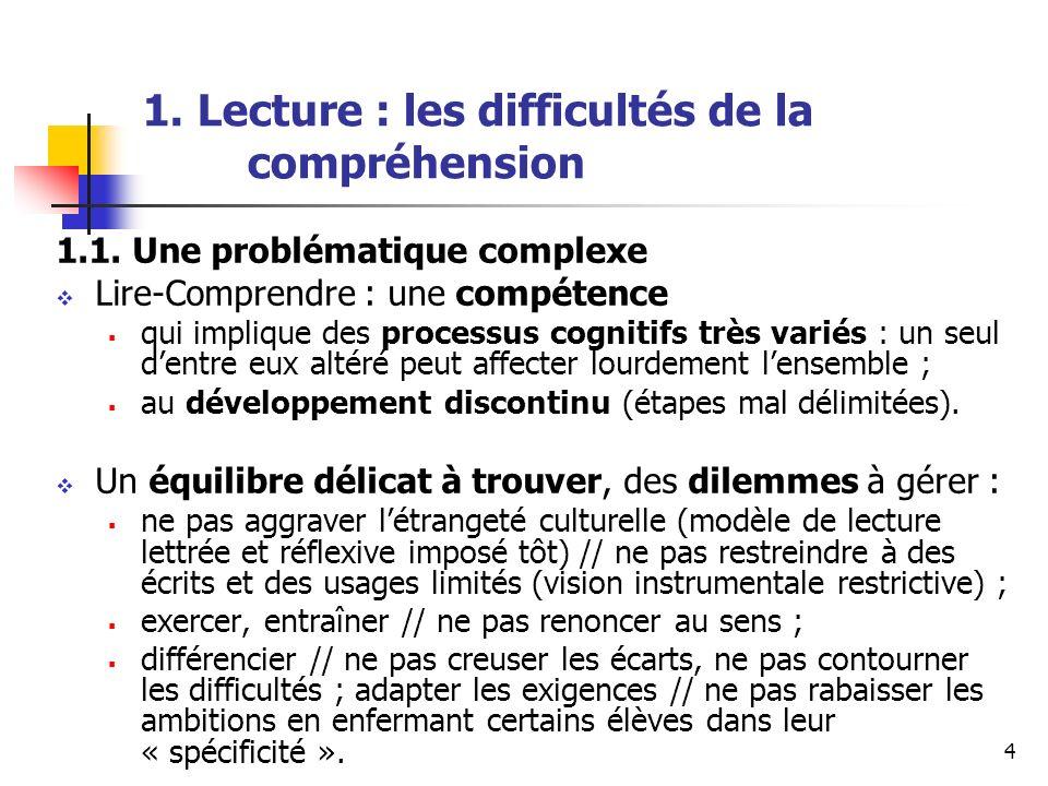 4 1. Lecture : les difficultés de la compréhension 1.1. Une problématique complexe Lire-Comprendre : une compétence qui implique des processus cogniti