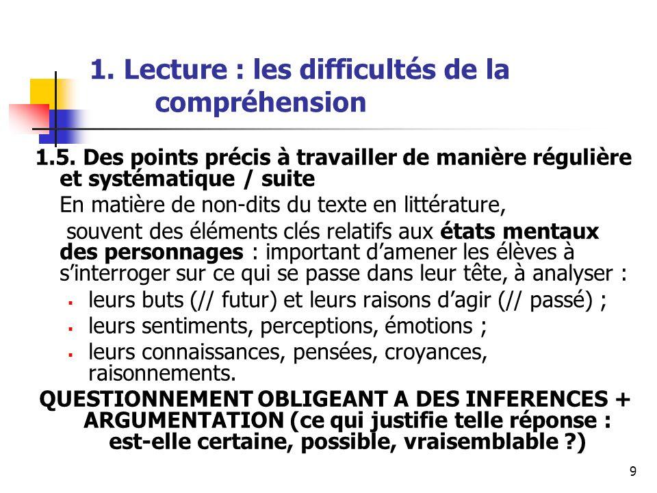 9 1. Lecture : les difficultés de la compréhension 1.5. Des points précis à travailler de manière régulière et systématique / suite En matière de non-