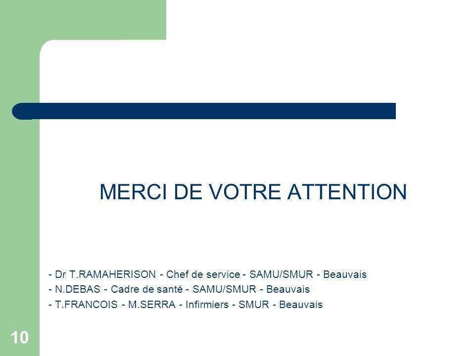 10 MERCI DE VOTRE ATTENTION - Dr T.RAMAHERISON - Chef de service - SAMU/SMUR - Beauvais - N.DEBAS - Cadre de santé - SAMU/SMUR - Beauvais - T.FRANCOIS