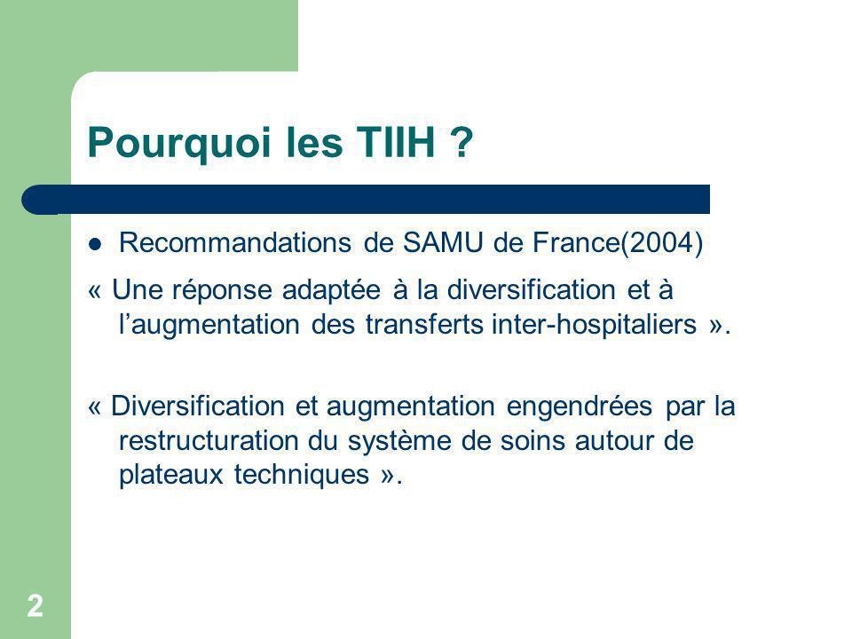 2 Pourquoi les TIIH ? Recommandations de SAMU de France(2004) « Une réponse adaptée à la diversification et à laugmentation des transferts inter-hospi