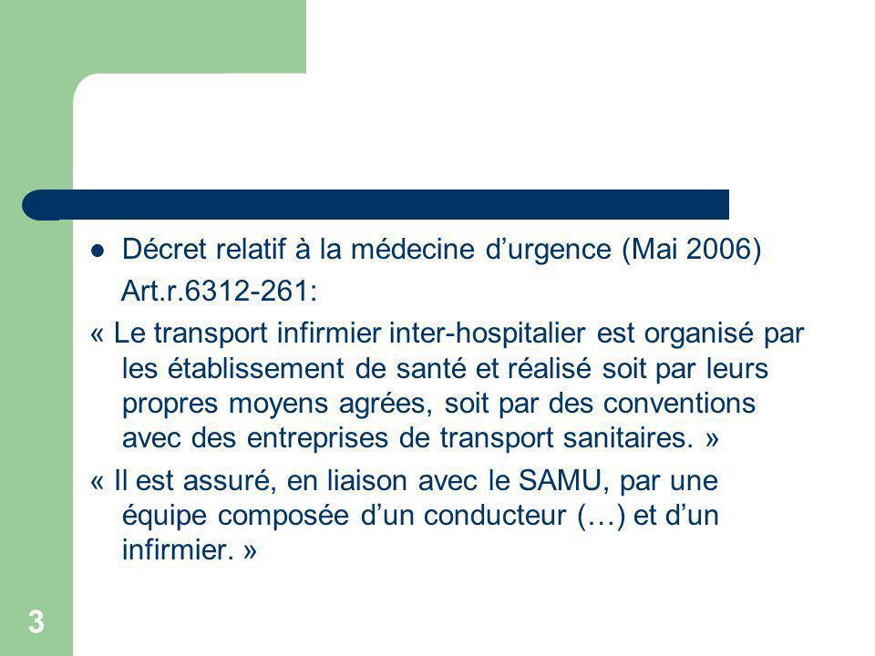 3 Décret relatif à la médecine durgence (Mai 2006) Art.r.6312-261: « Le transport infirmier inter-hospitalier est organisé par les établissement de sa