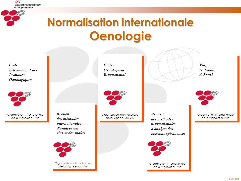 OIV 2012 Normalisation internationale Oenologie Codex Oenologique International Organisation Internationale de la Vigne et du Vin Recueil des méthodes