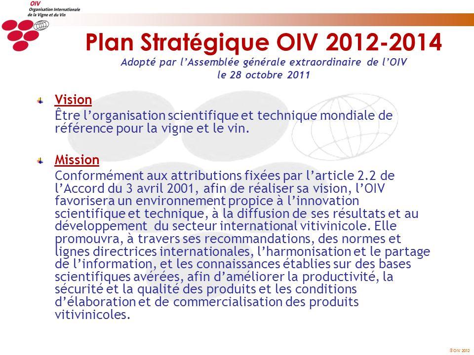 OIV 2012 Plan Strat é gique OIV 2012-2014 Adopté par lAssemblée générale extraordinaire de lOIV le 28 octobre 2011 Vision Être lorganisation scientifi