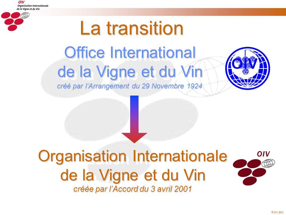 OIV 2012 La transition Office International de la Vigne et du Vin Organisation Internationale de la Vigne et du Vin créée par lAccord du 3 avril 2001