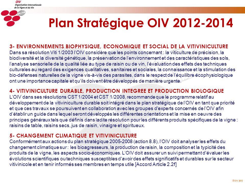 OIV 2012 Plan Strat é gique OIV 2012-2014 3- ENVIRONNEMENTS BIOPHYSIQUE, ECONOMIQUE ET SOCIAL DE LA VITIVINICULTURE Dans sa résolution Viti 1/2003 lOI