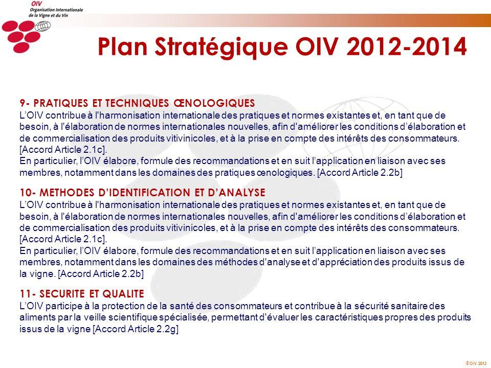 OIV 2012 Plan Strat é gique OIV 2012-2014 9- PRATIQUES ET TECHNIQUES ŒNOLOGIQUES LOIV contribue à l'harmonisation internationale des pratiques et norm