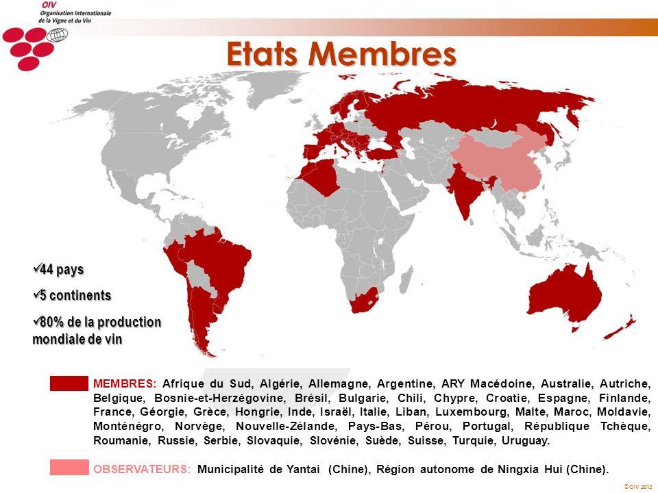 OIV 2012 44 pays 44 pays 5 continents 5 continents 80% de la production mondiale de vin 80% de la production mondiale de vin MEMBRES: Afrique du Sud,