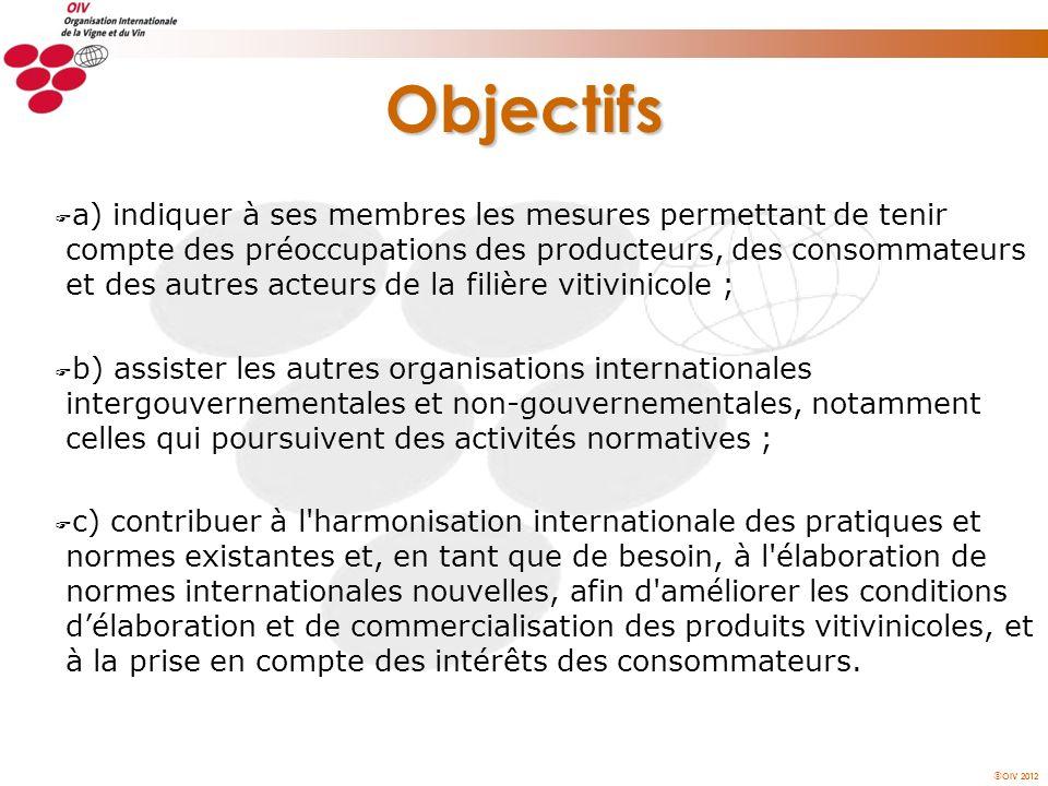 OIV 2012 Objectifs F a) indiquer à ses membres les mesures permettant de tenir compte des préoccupations des producteurs, des consommateurs et des aut