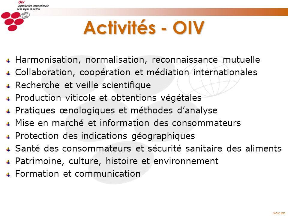 OIV 2012 Activités - OIV Harmonisation, normalisation, reconnaissance mutuelle Collaboration, coopération et médiation internationales Recherche et ve