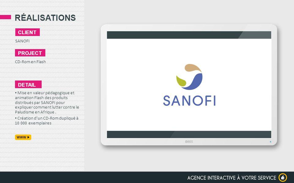 RÉALISATIONS SANOFI CLIENT PROJECT CD-Rom en Flash DETAIL Mise en valeur pédagogique et animation Flash des produits distribués par SANOFI pour expliq