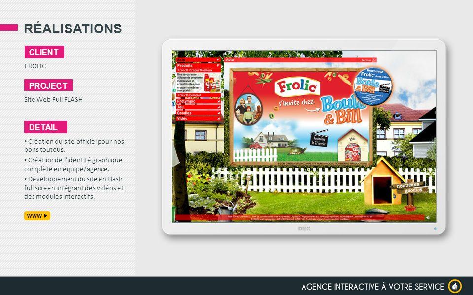 RÉALISATIONS FROLIC CLIENT PROJECT Site Web Full FLASH DETAIL Création du site officiel pour nos bons toutous. Création de lidentité graphique complèt