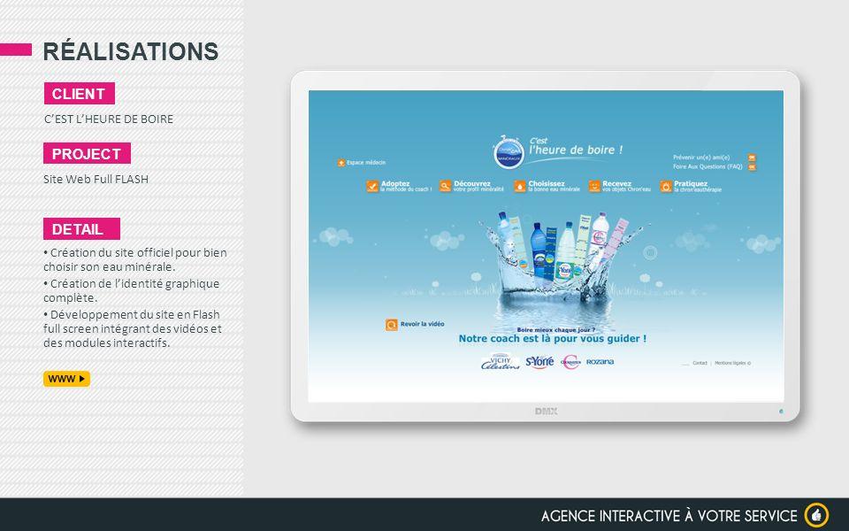 RÉALISATIONS CEST LHEURE DE BOIRE CLIENT PROJECT Site Web Full FLASH DETAIL Création du site officiel pour bien choisir son eau minérale. Création de