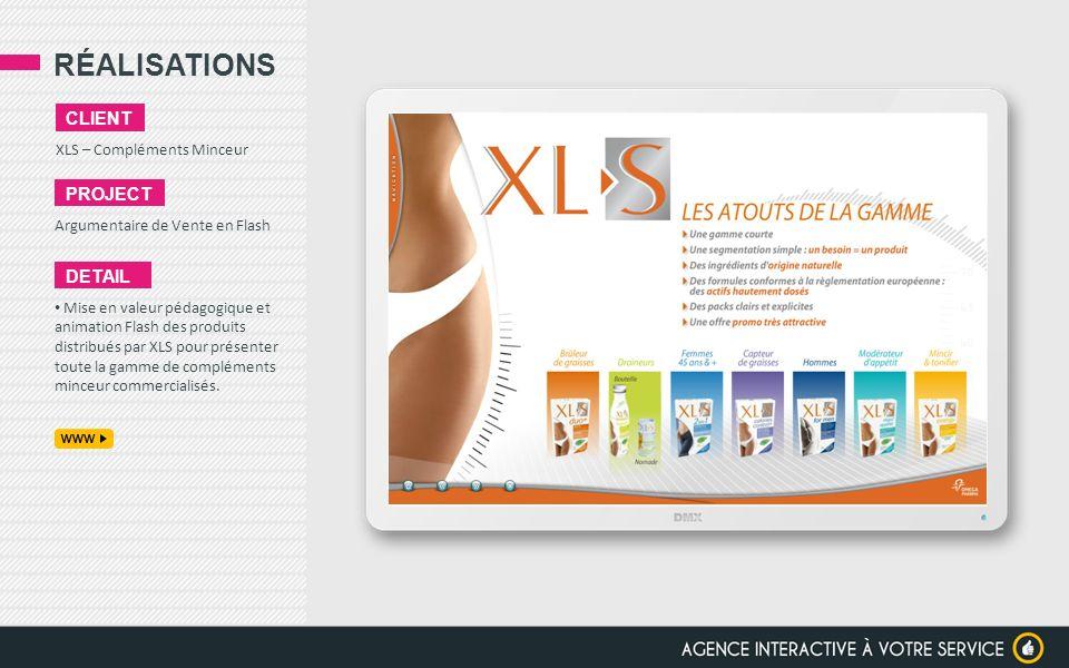 RÉALISATIONS XLS – Compléments Minceur CLIENT PROJECT Argumentaire de Vente en Flash DETAIL Mise en valeur pédagogique et animation Flash des produits
