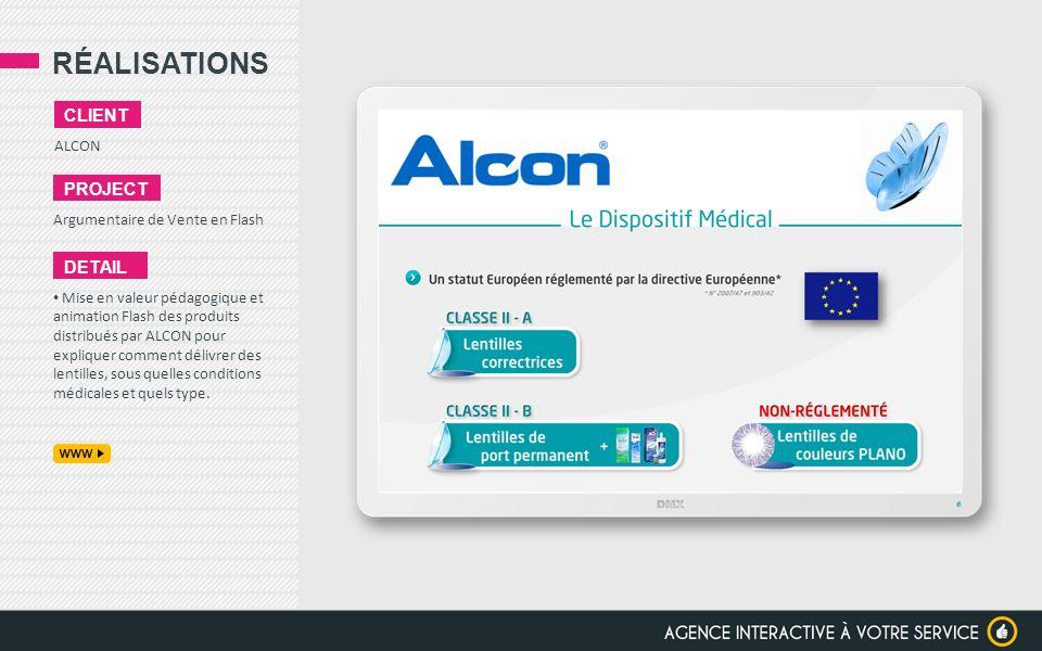 RÉALISATIONS ALCON CLIENT PROJECT Argumentaire de Vente en Flash DETAIL Mise en valeur pédagogique et animation Flash des produits distribués par ALCO