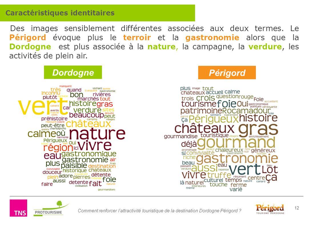 Comment renforcer lattractivité touristique de la destination Dordogne Périgord ? 12 Des images sensiblement différentes associées aux deux termes. Le
