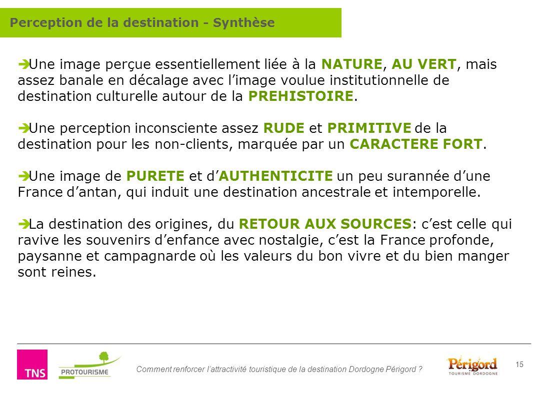 Comment renforcer lattractivité touristique de la destination Dordogne Périgord ? 15 Une image perçue essentiellement liée à la NATURE, AU VERT, mais