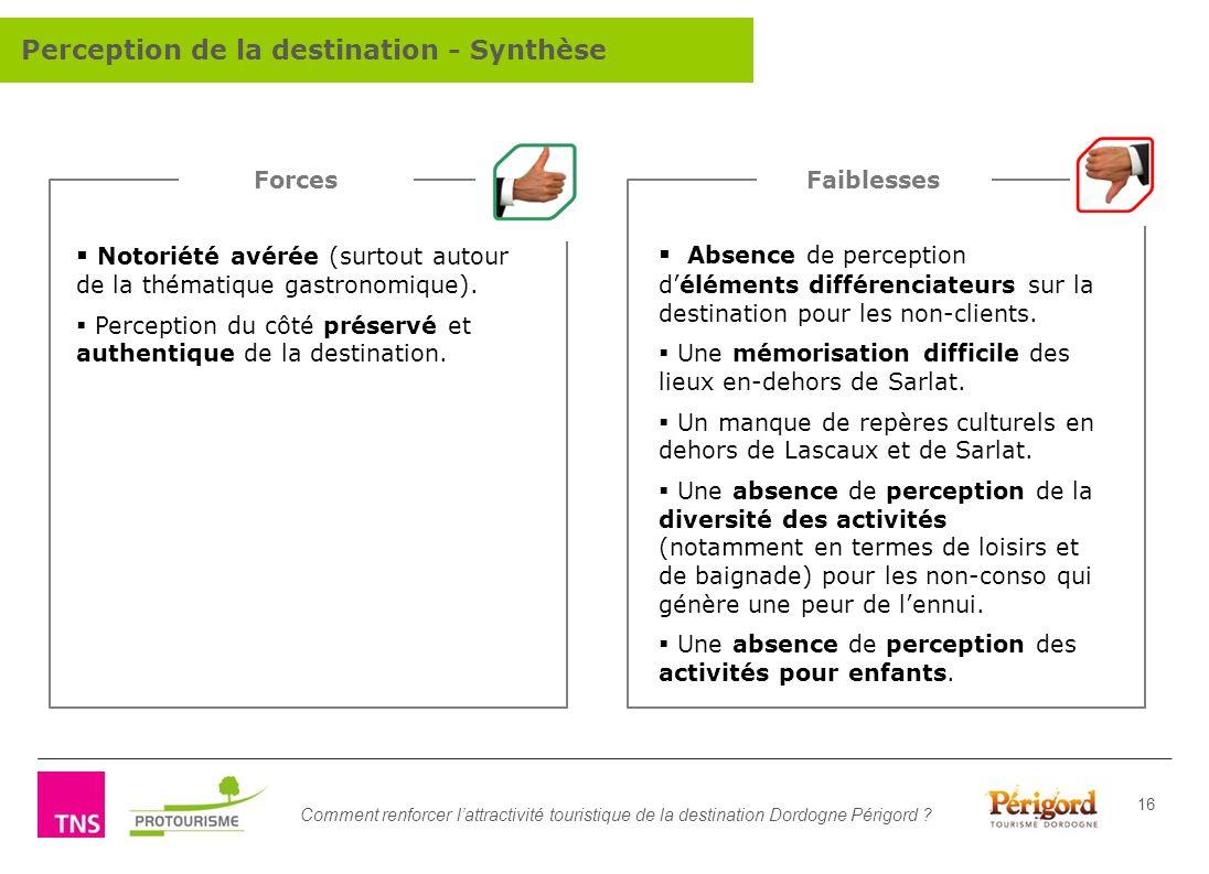 Comment renforcer lattractivité touristique de la destination Dordogne Périgord ? 16 Notoriété avérée (surtout autour de la thématique gastronomique).