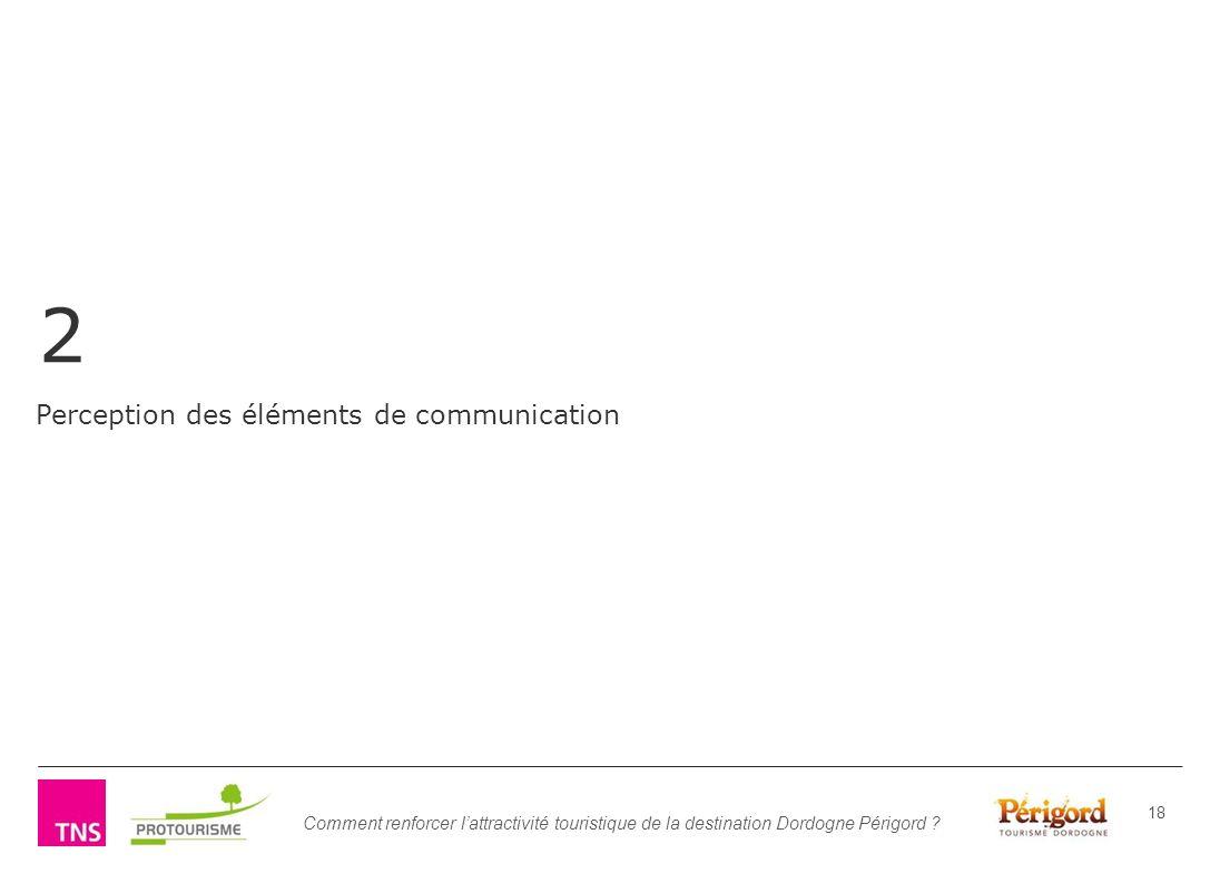 Comment renforcer lattractivité touristique de la destination Dordogne Périgord ? 18 2 Perception des éléments de communication