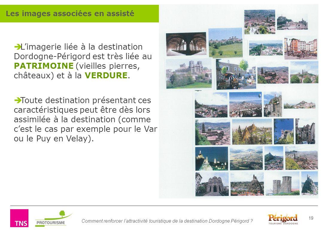 Comment renforcer lattractivité touristique de la destination Dordogne Périgord ? 19 Limagerie liée à la destination Dordogne-Périgord est très liée a