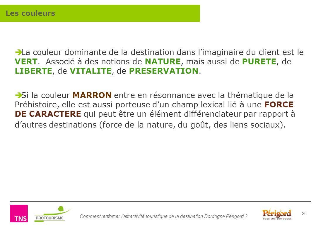 Comment renforcer lattractivité touristique de la destination Dordogne Périgord ? 20 La couleur dominante de la destination dans limaginaire du client