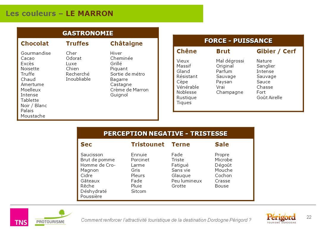 Comment renforcer lattractivité touristique de la destination Dordogne Périgord ? 22 GASTRONOMIE ChocolatTruffesChâtaigne Gourmandise Cacao Excès Nois