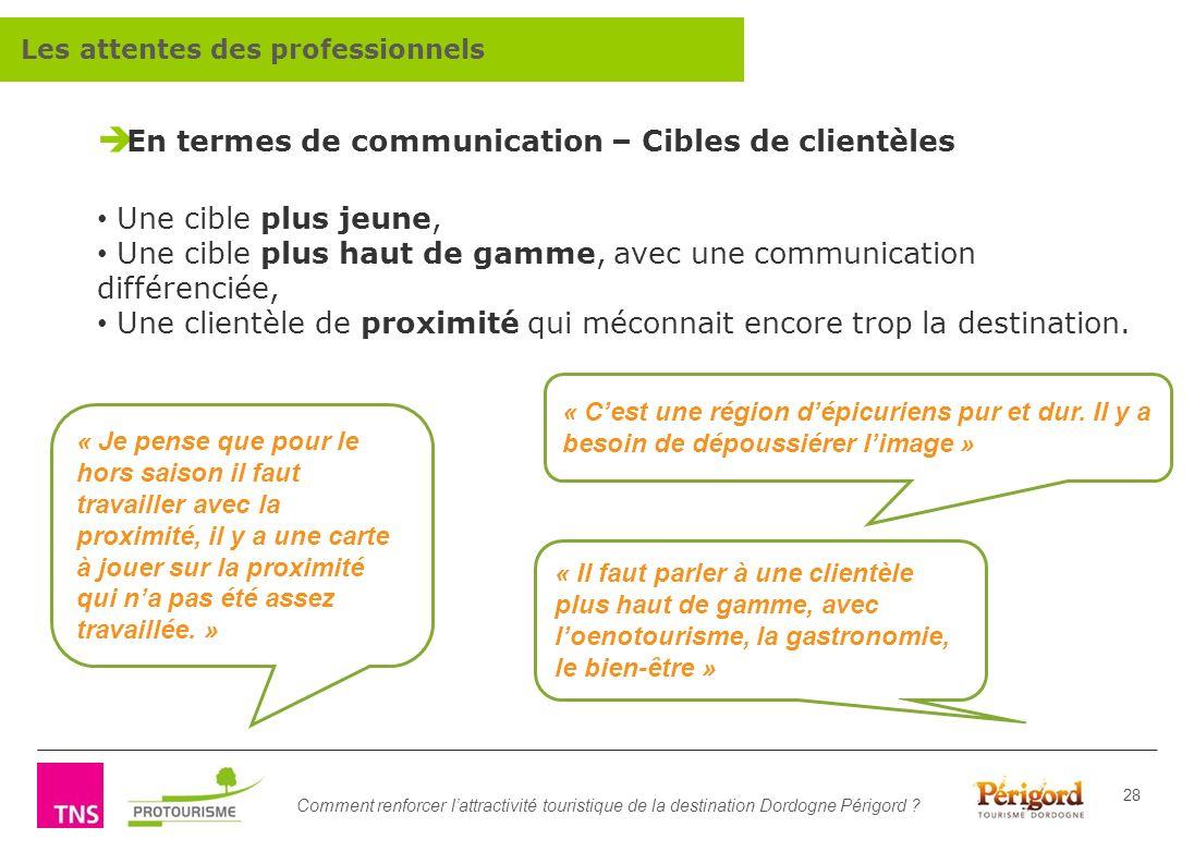Comment renforcer lattractivité touristique de la destination Dordogne Périgord ? 28 En termes de communication – Cibles de clientèles Une cible plus
