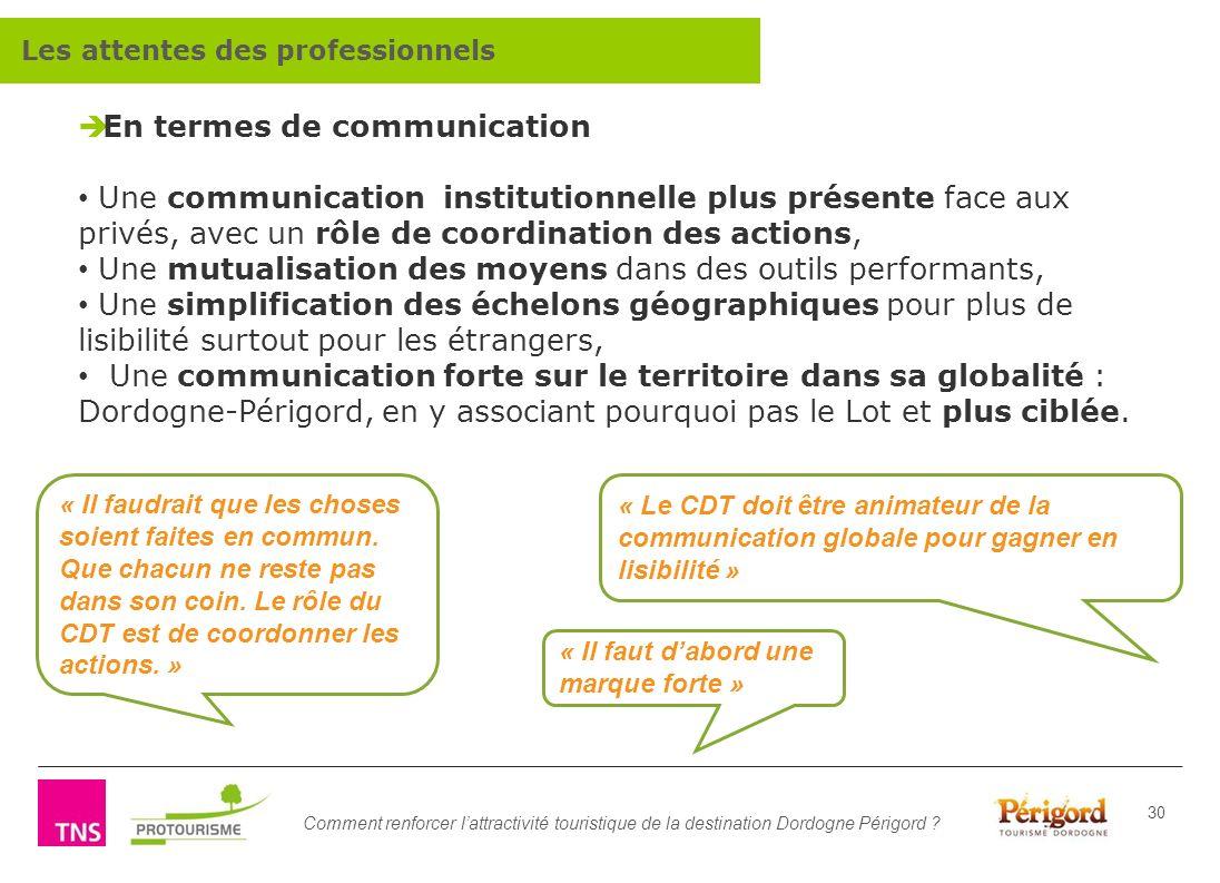 Comment renforcer lattractivité touristique de la destination Dordogne Périgord ? 30 En termes de communication Une communication institutionnelle plu