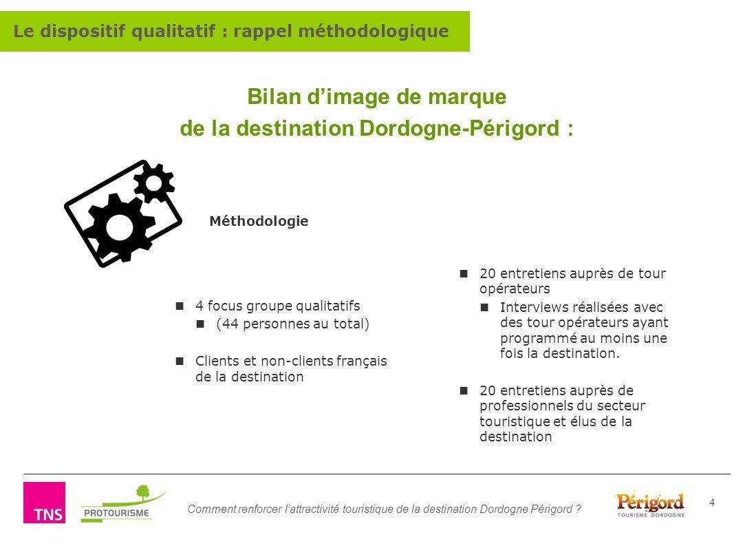 Comment renforcer lattractivité touristique de la destination Dordogne Périgord ? 4 Bilan dimage de marque de la destination Dordogne-Périgord : 20 en