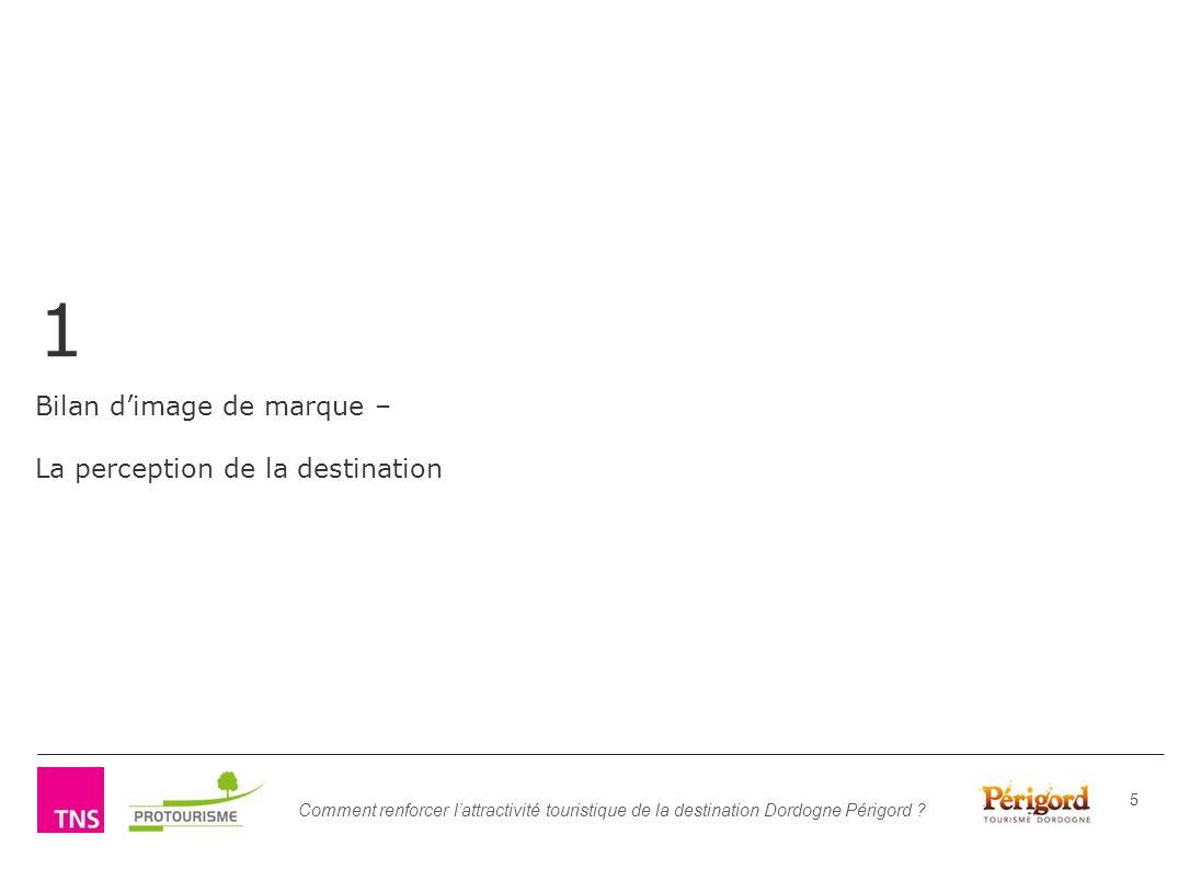 Comment renforcer lattractivité touristique de la destination Dordogne Périgord ? 5 1 Bilan dimage de marque – La perception de la destination