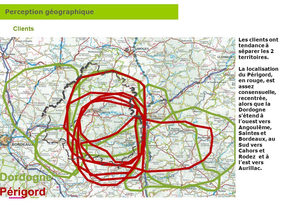 Comment renforcer lattractivité touristique de la destination Dordogne Périgord ? 7 Dordogne Périgord Clients Les clients ont tendance à séparer les 2