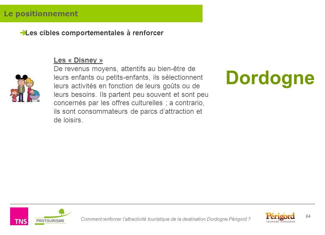 Comment renforcer lattractivité touristique de la destination Dordogne Périgord ? 84 Dordogne Les « Disney » De revenus moyens, attentifs au bien-être