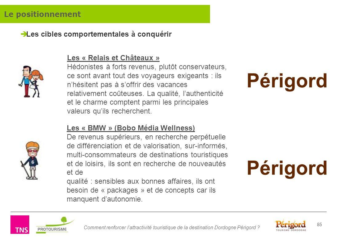 Comment renforcer lattractivité touristique de la destination Dordogne Périgord ? 85 Les cibles comportementales à conquérir Les « Relais et Châteaux