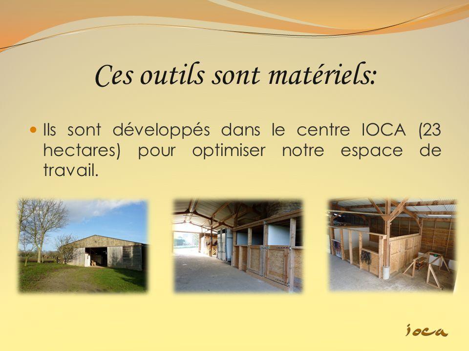 Ces outils sont matériels: Ils sont développés dans le centre IOCA (23 hectares) pour optimiser notre espace de travail.