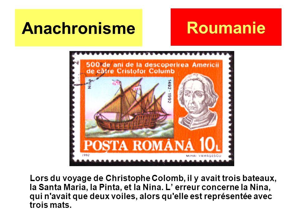 Anachronisme Lors du voyage de Christophe Colomb, il y avait trois bateaux, la Santa Maria, la Pinta, et la Nina. L erreur concerne la Nina, qui n'ava