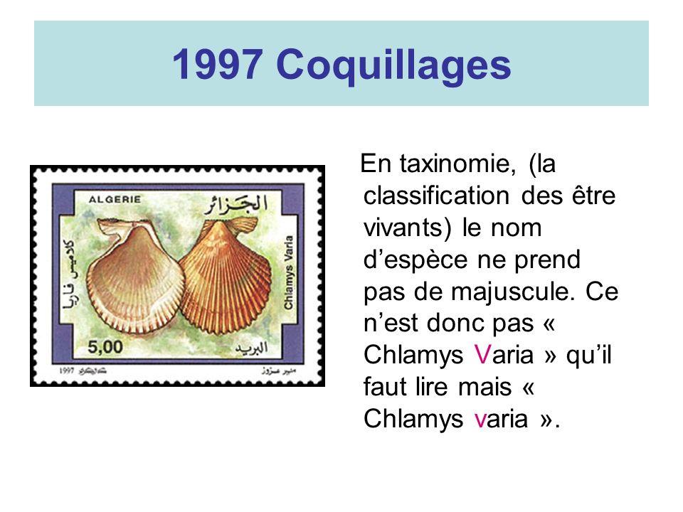 1997 Coquillages En taxinomie, (la classification des être vivants) le nom despèce ne prend pas de majuscule. Ce nest donc pas « Chlamys Varia » quil