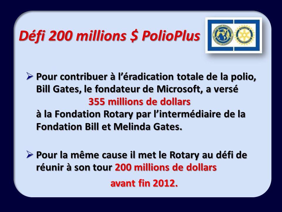 Défi 200 millions $ PolioPlus Pour contribuer à léradication totale de la polio, Bill Gates, le fondateur de Microsoft, a versé 355 millions de dollars à la Fondation Rotary par lintermédiaire de la Fondation Bill et Melinda Gates.