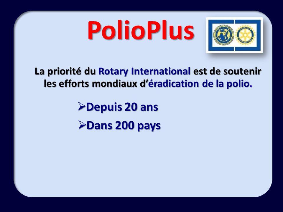 PolioPlus La priorité du Rotary International est de soutenir les efforts mondiaux déradication de la polio.