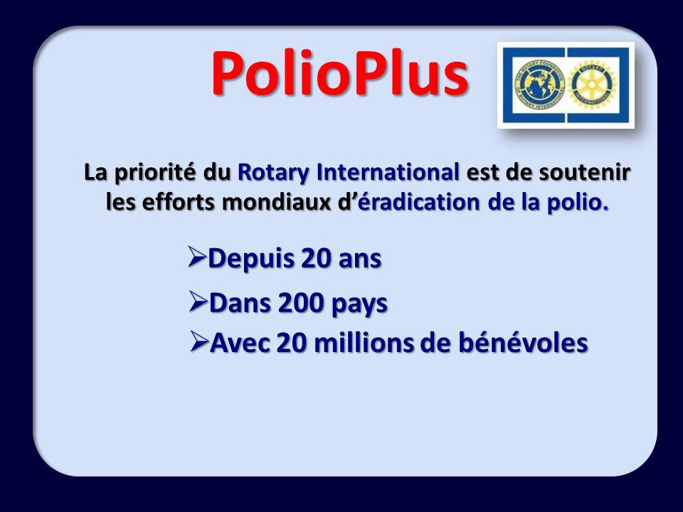 PolioPlus La priorité du Rotary International est de soutenir les efforts mondiaux déradication de la polio. Depuis 20 ans Depuis 20 ans Dans 200 pays