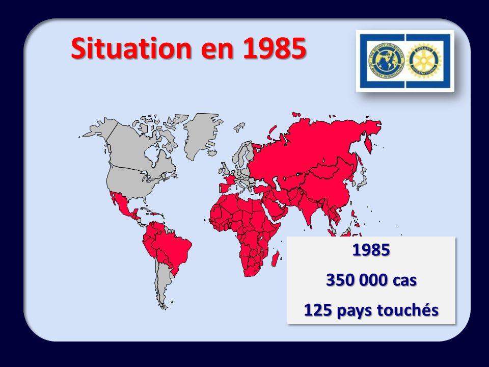 1985 350 000 cas 125 pays touchés 1985 350 000 cas 125 pays touchés
