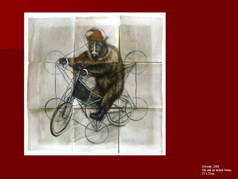 Göricke, 2008 Oil, ink on animal bones, 25 x 25cm