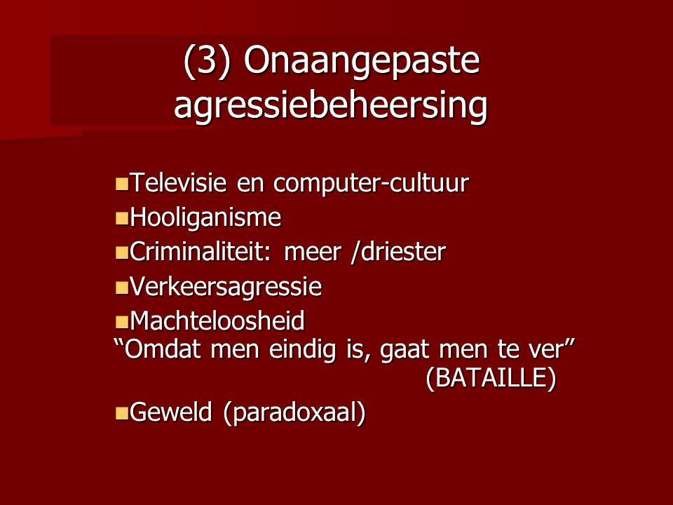 (3) Onaangepaste agressiebeheersing Televisie en computer-cultuur Televisie en computer-cultuur Hooliganisme Hooliganisme Criminaliteit: meer /drieste