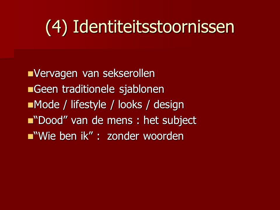 (4) Identiteitsstoornissen Vervagen van sekserollen Vervagen van sekserollen Geen traditionele sjablonen Geen traditionele sjablonen Mode / lifestyle