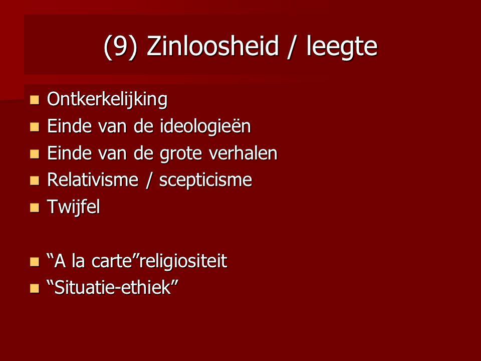 (9) Zinloosheid / leegte Ontkerkelijking Ontkerkelijking Einde van de ideologieën Einde van de ideologieën Einde van de grote verhalen Einde van de gr